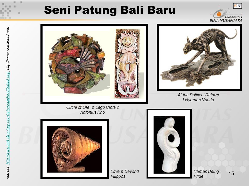 15 Seni Patung Bali Baru Circle of Life & Lagu Cinta 2 Antonius Kho At the Political Reform I Nyoman Nuarta Love & Beyond Filippos Human Being - Pride sumber: http://www.bali-directory.com/arts/sculptors/Default.asp, http://www.artisticbali.comhttp://www.bali-directory.com/arts/sculptors/Default.asp