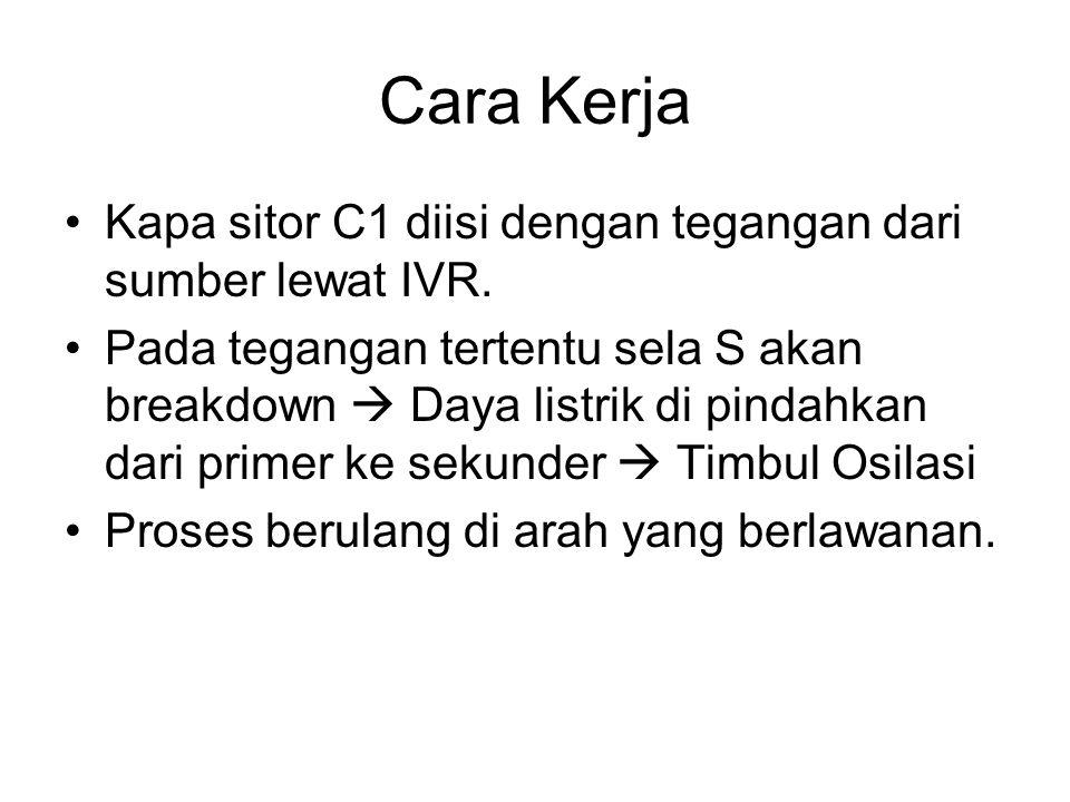 Cara Kerja Kapa sitor C1 diisi dengan tegangan dari sumber lewat IVR. Pada tegangan tertentu sela S akan breakdown  Daya listrik di pindahkan dari pr