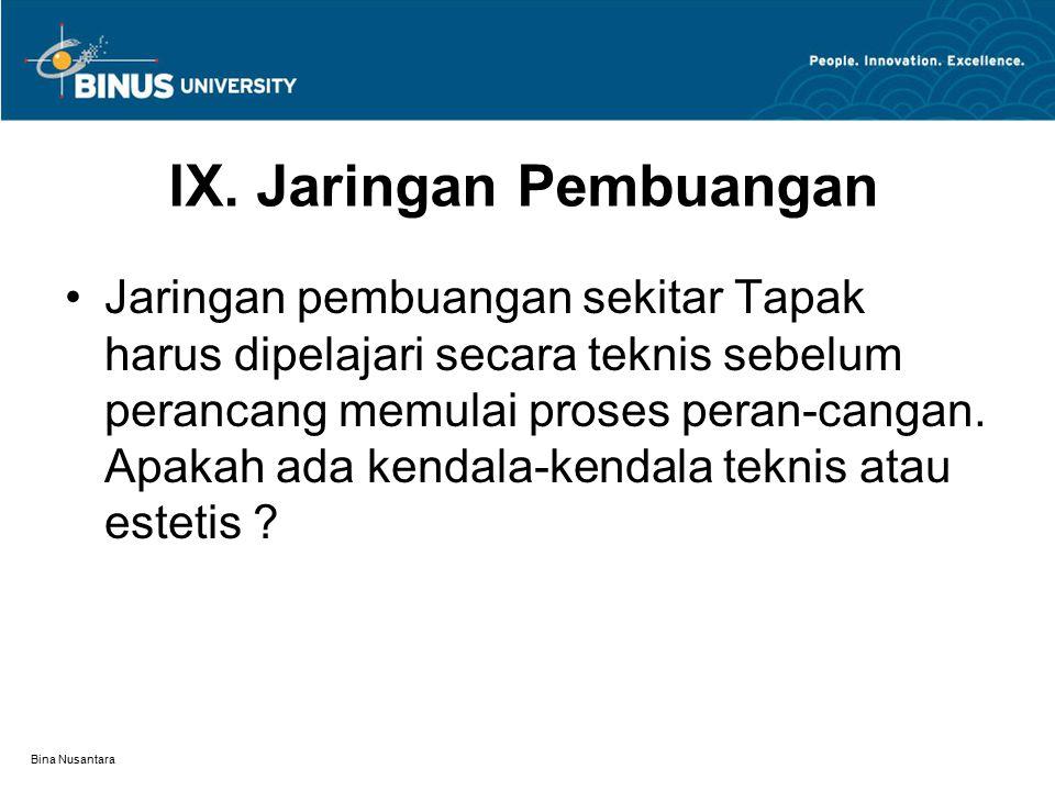 Bina Nusantara Jaringan pembuangan sekitar Tapak harus dipelajari secara teknis sebelum perancang memulai proses peran-cangan.