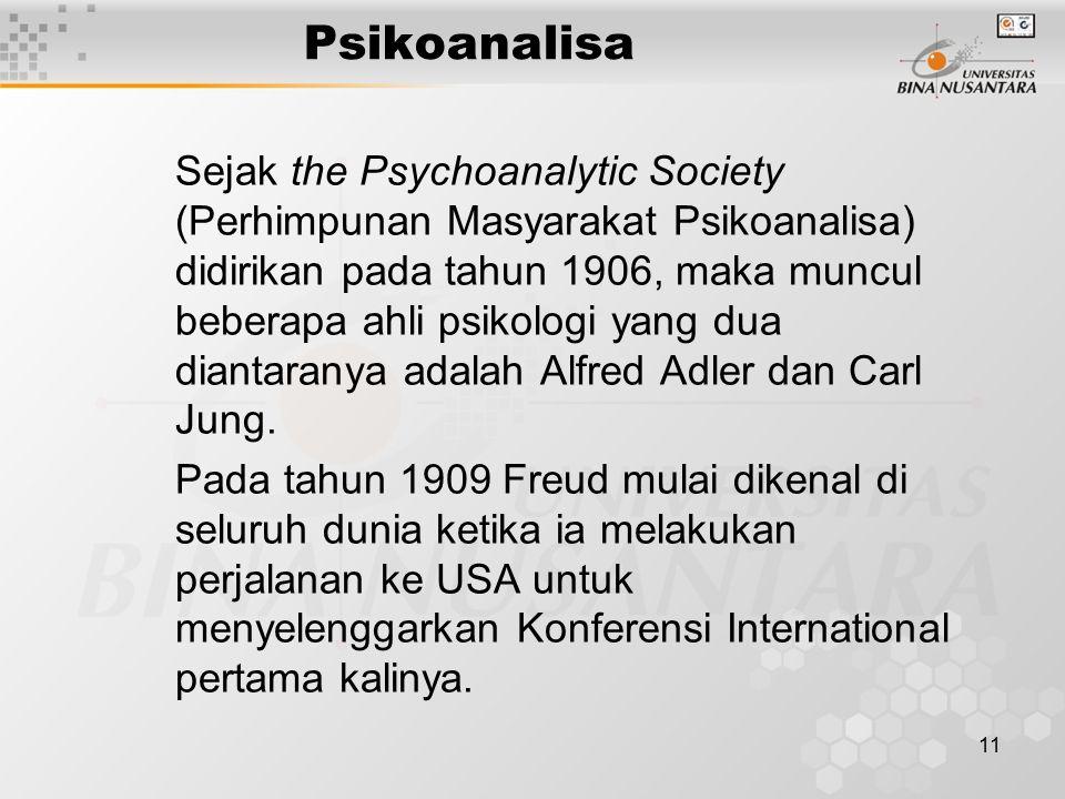 11 Psikoanalisa Sejak the Psychoanalytic Society (Perhimpunan Masyarakat Psikoanalisa) didirikan pada tahun 1906, maka muncul beberapa ahli psikologi yang dua diantaranya adalah Alfred Adler dan Carl Jung.