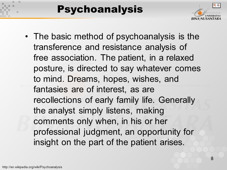 9 Psychoanalysis In listening, the analyst attempts to maintain an attitude of empathic neutrality, a non judgmental stance designed to create a safe environment.