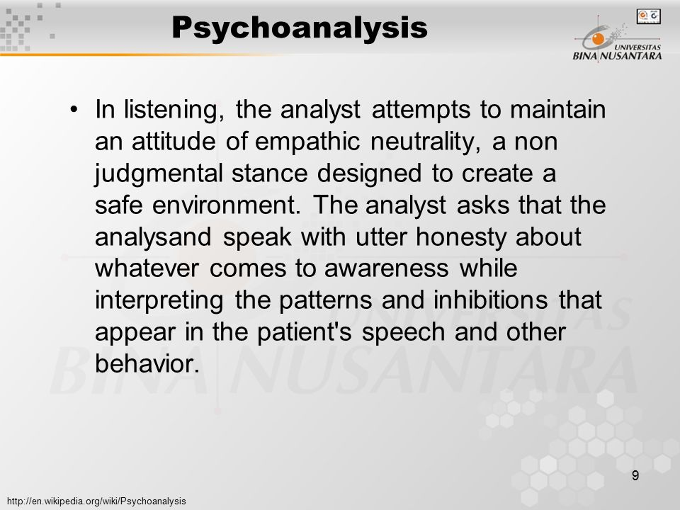 10 Psikoanalisa Istilah psikoanalisa yang dikemukakan Freud sebenarnya memiliki beberapa makna yaitu: (1) sebagai sebuah teori kepribadian dan psikopatologi, (2) sebuah metode terapi untuk gangguan-gangguan kepribadian, (3) suatu teknik untuk menginvestigasi pikiran-pikiran dan perasaan-perasaan individu yang tidak disadari oleh individu itu sendiri.