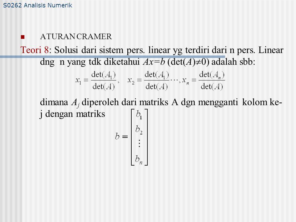 ATURAN CRAMER Teori 8: Solusi dari sistem pers.linear yg terdiri dari n pers.