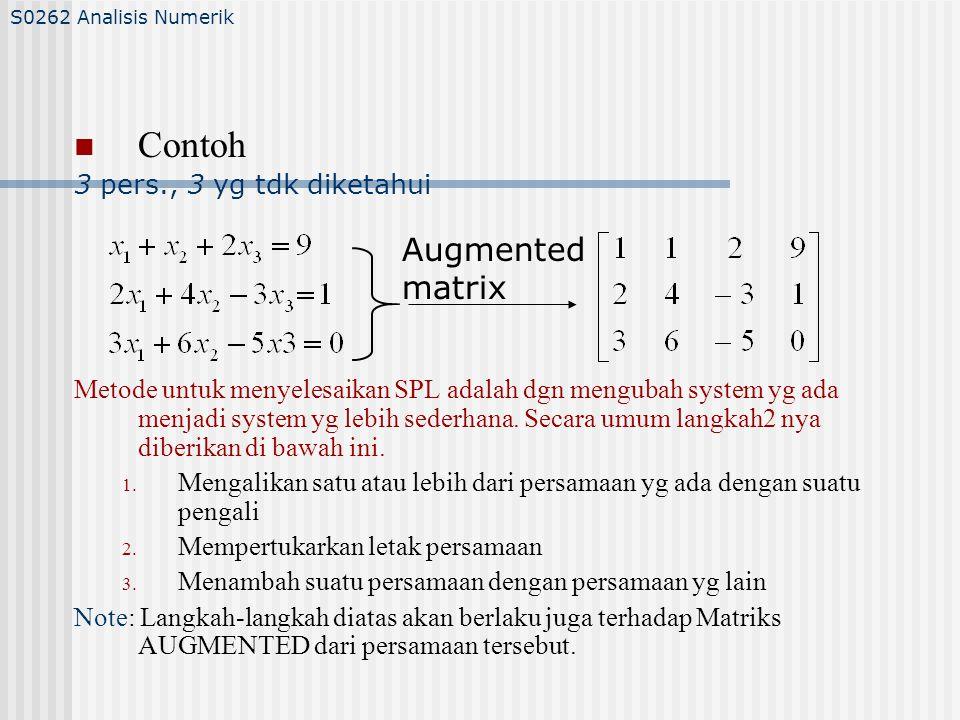 ATURAN CRAMER Contoh/Latihan: Gunakan aturan Cramer untuk menyelesakan sistem persamaan linear berikut: Jawab: S0262 Analisis Numerik