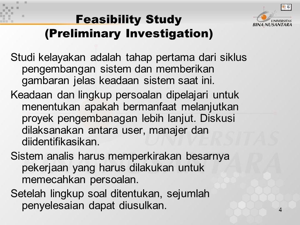 4 Feasibility Study (Preliminary Investigation) Studi kelayakan adalah tahap pertama dari siklus pengembangan sistem dan memberikan gambaran jelas keadaan sistem saat ini.