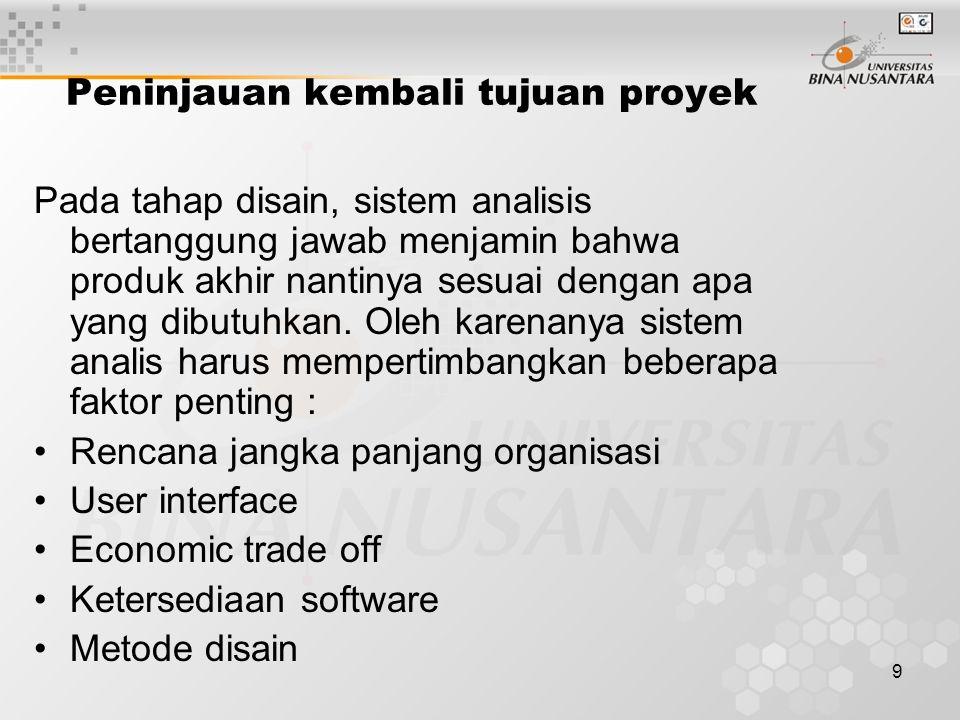 9 Peninjauan kembali tujuan proyek Pada tahap disain, sistem analisis bertanggung jawab menjamin bahwa produk akhir nantinya sesuai dengan apa yang dibutuhkan.