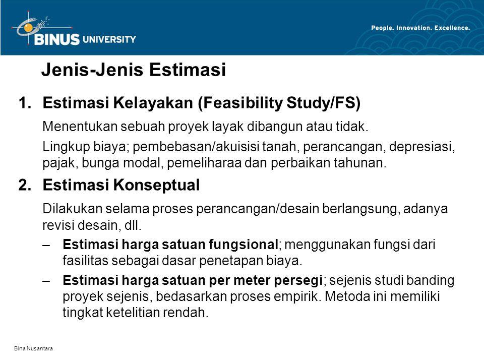 Bina Nusantara Jenis-Jenis Estimasi 1.Estimasi Kelayakan (Feasibility Study/FS) Menentukan sebuah proyek layak dibangun atau tidak. Lingkup biaya; pem