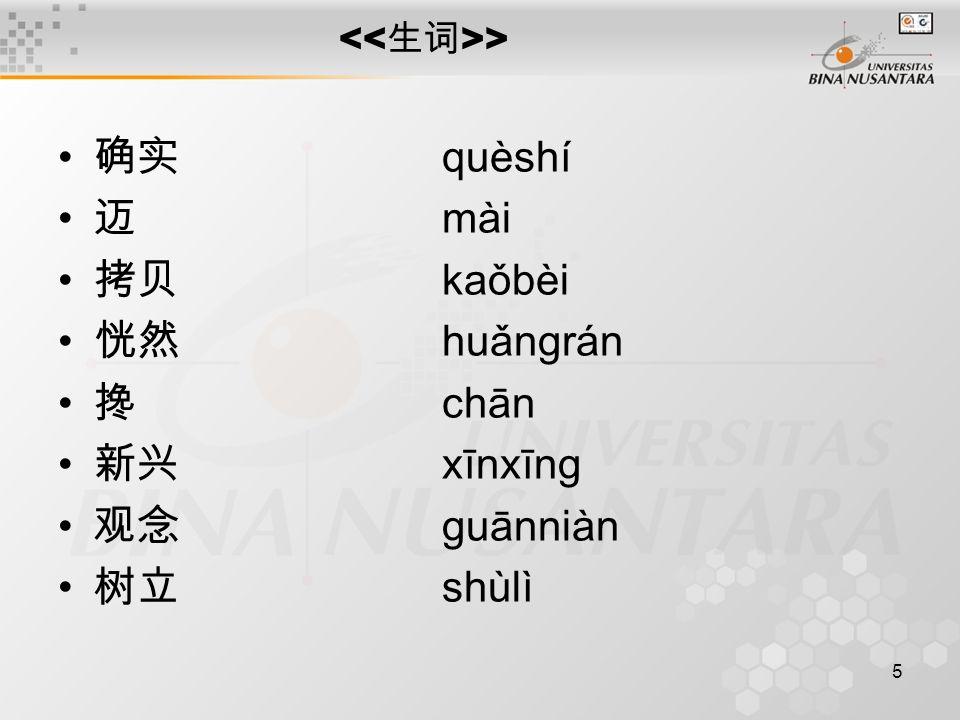 5 > 确实 quèshí 迈 mài 拷贝 kaǒbèi 恍然 huǎngrán 搀 chān 新兴 xīnxīng 观念 guānniàn 树立 shùlì