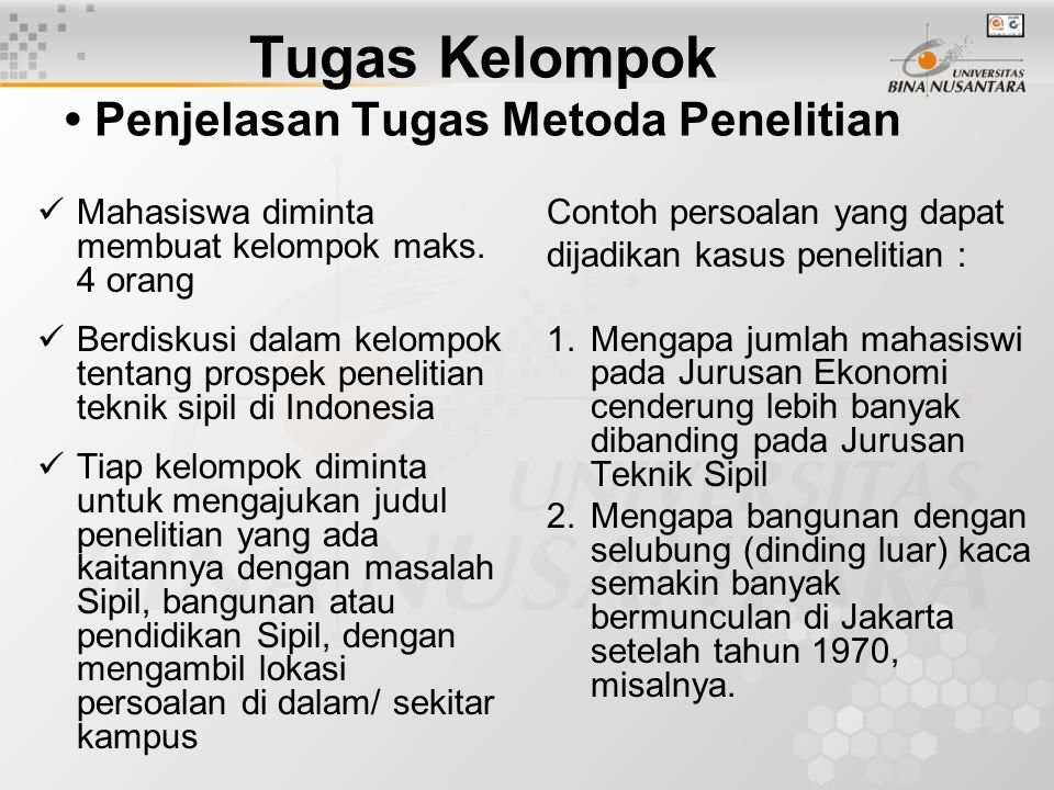 Tugas Perseorangan Penjelasan Tugas Metoda Penelitian 1.