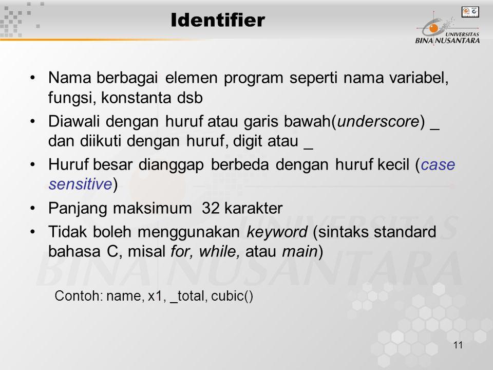 11 Identifier Nama berbagai elemen program seperti nama variabel, fungsi, konstanta dsb Diawali dengan huruf atau garis bawah(underscore) _ dan diikut