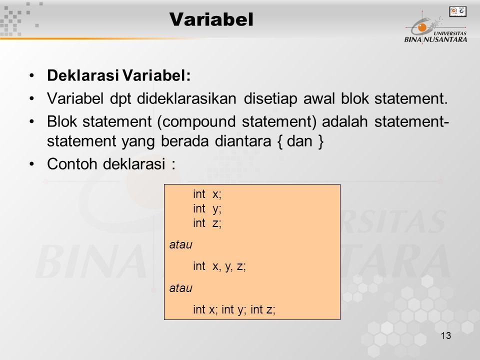 13 Variabel Deklarasi Variabel: Variabel dpt dideklarasikan disetiap awal blok statement. Blok statement (compound statement) adalah statement- statem