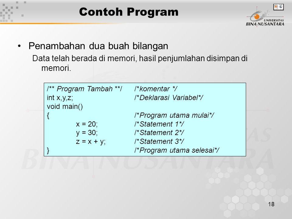 18 Contoh Program Penambahan dua buah bilangan Data telah berada di memori, hasil penjumlahan disimpan di memori. /** Program Tambah **/ /*komentar */