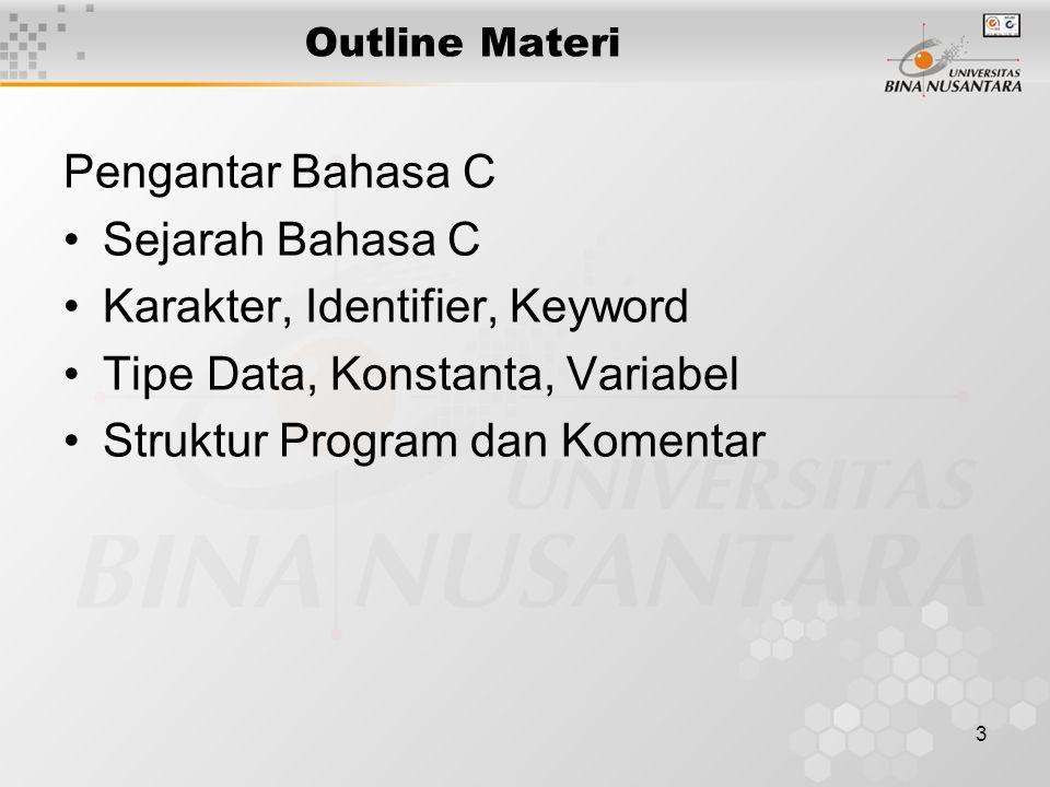14 Tipe Data Pada dasarnya tipe data pada bahasa C ada 5, dan ditambah 4 tipe Modifier yaitu : Basic Data TypesKeyword 1.Character 2.Integer 3.Floating point 4.Double floating point 5.Void 1.char 2.int 3.float 4.double 5.void