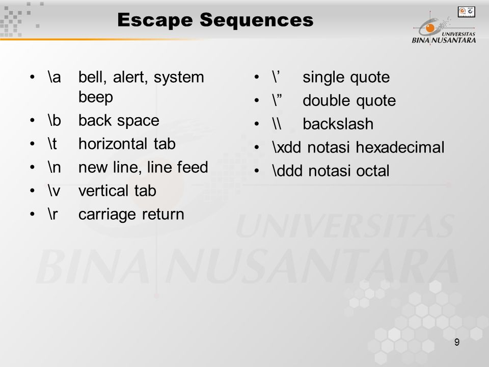 10 Karakter Program C ditulis menggunakan subset karakter ASCII yaitu: Huruf besar A..
