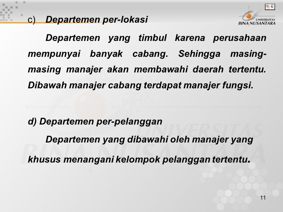 11 c)Departemen per-lokasi Departemen yang timbul karena perusahaan mempunyai banyak cabang. Sehingga masing- masing manajer akan membawahi daerah ter