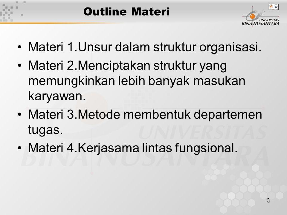 3 Outline Materi Materi 1.Unsur dalam struktur organisasi. Materi 2.Menciptakan struktur yang memungkinkan lebih banyak masukan karyawan. Materi 3.Met