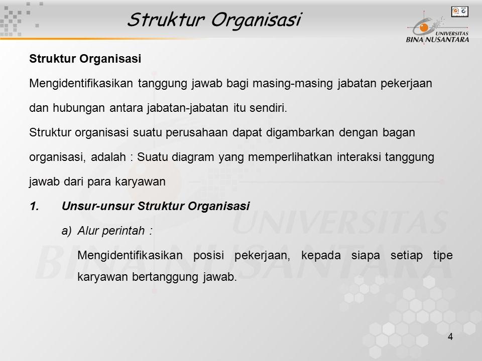 4 Struktur Organisasi Mengidentifikasikan tanggung jawab bagi masing-masing jabatan pekerjaan dan hubungan antara jabatan-jabatan itu sendiri. Struktu