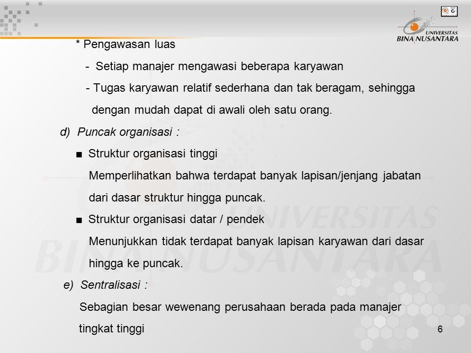 7 f) Desentralisasi : Wewenag terbagi di antara berbagai devisi atau para manajer.