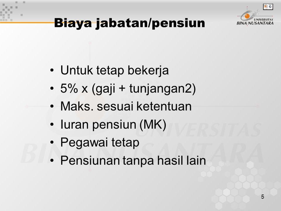 5 Biaya jabatan/pensiun Untuk tetap bekerja 5% x (gaji + tunjangan2) Maks. sesuai ketentuan Iuran pensiun (MK) Pegawai tetap Pensiunan tanpa hasil lai
