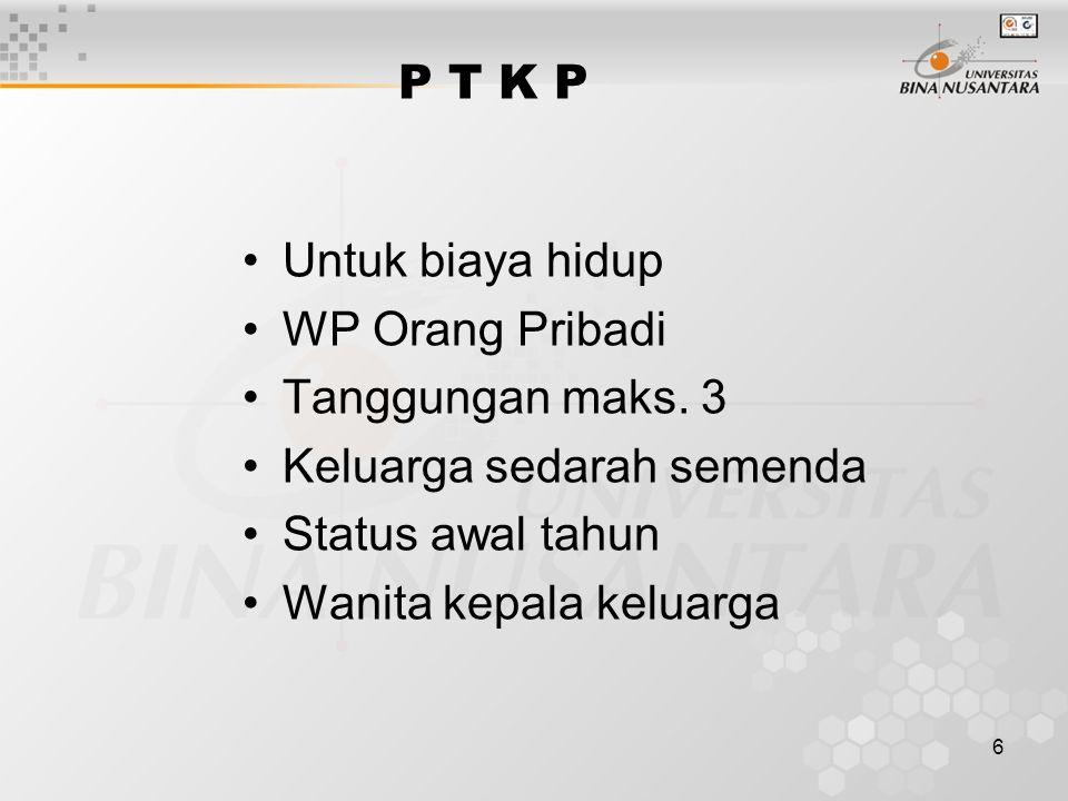 6 P T K P Untuk biaya hidup WP Orang Pribadi Tanggungan maks. 3 Keluarga sedarah semenda Status awal tahun Wanita kepala keluarga