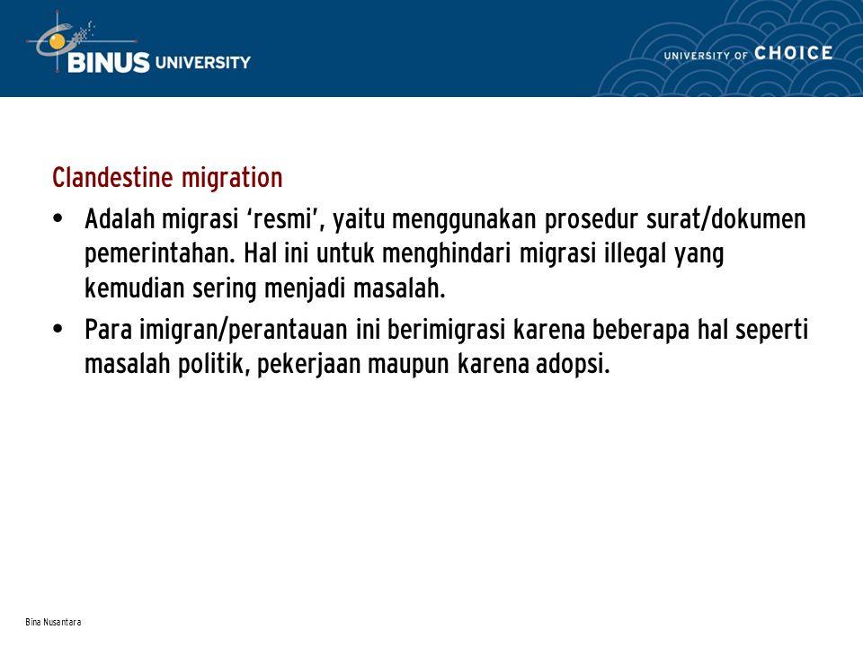 Bina Nusantara Clandestine migration Adalah migrasi 'resmi', yaitu menggunakan prosedur surat/dokumen pemerintahan.