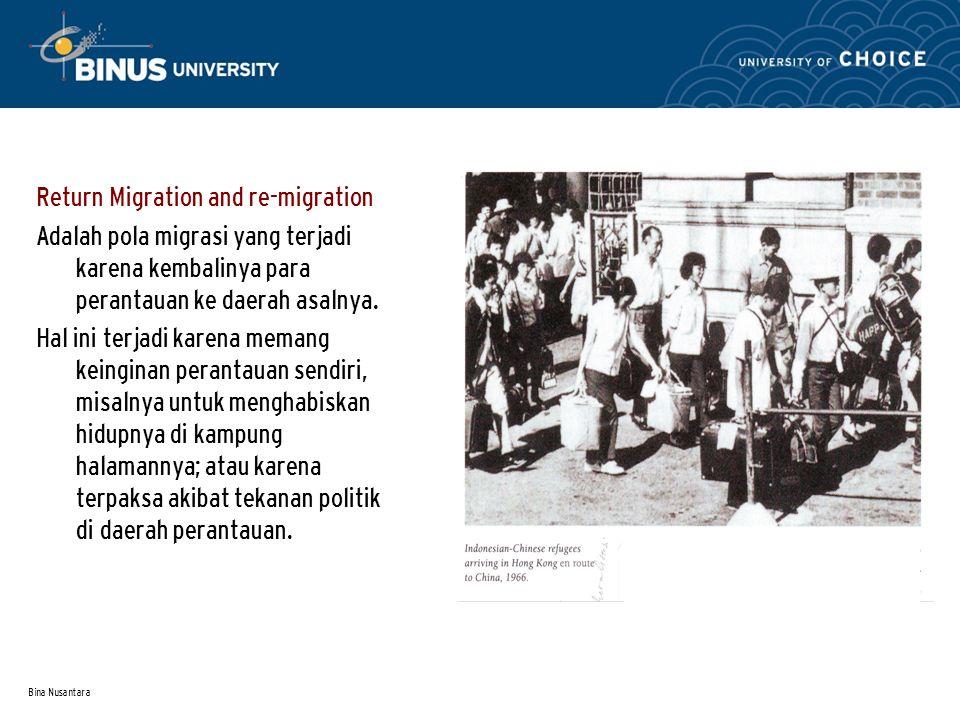 Bina Nusantara Return Migration and re-migration Adalah pola migrasi yang terjadi karena kembalinya para perantauan ke daerah asalnya.