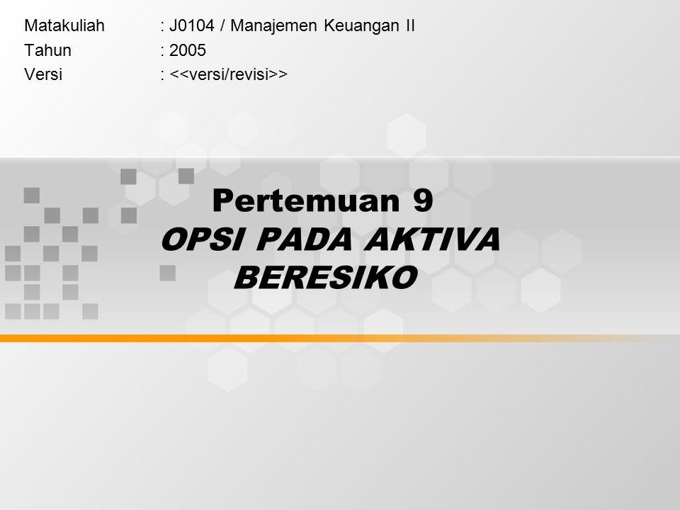 Pertemuan 9 OPSI PADA AKTIVA BERESIKO Matakuliah: J0104 / Manajemen Keuangan II Tahun: 2005 Versi: >