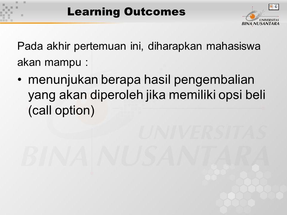 Learning Outcomes Pada akhir pertemuan ini, diharapkan mahasiswa akan mampu : menunjukan berapa hasil pengembalian yang akan diperoleh jika memiliki opsi beli (call option)