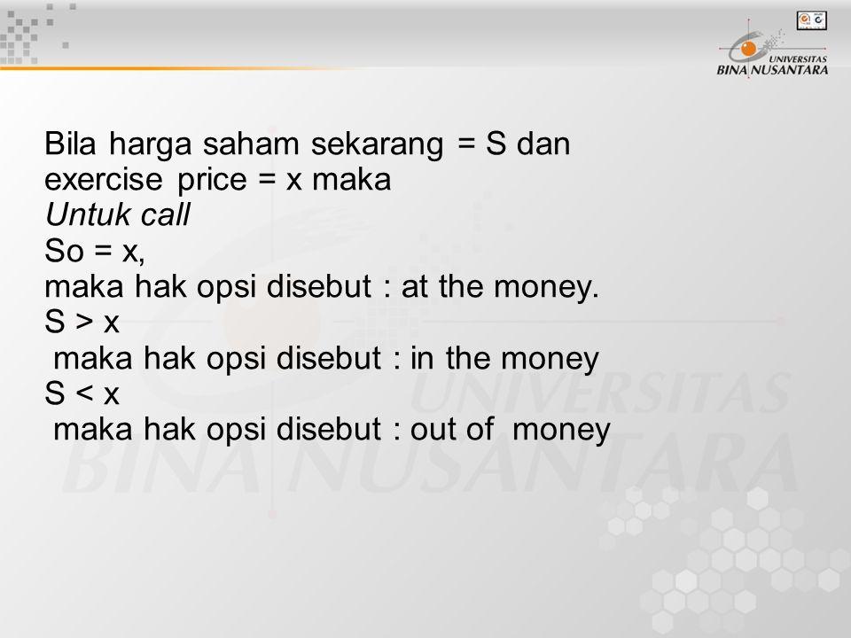 Bila harga saham sekarang = S dan exercise price = x maka Untuk call So = x, maka hak opsi disebut : at the money.