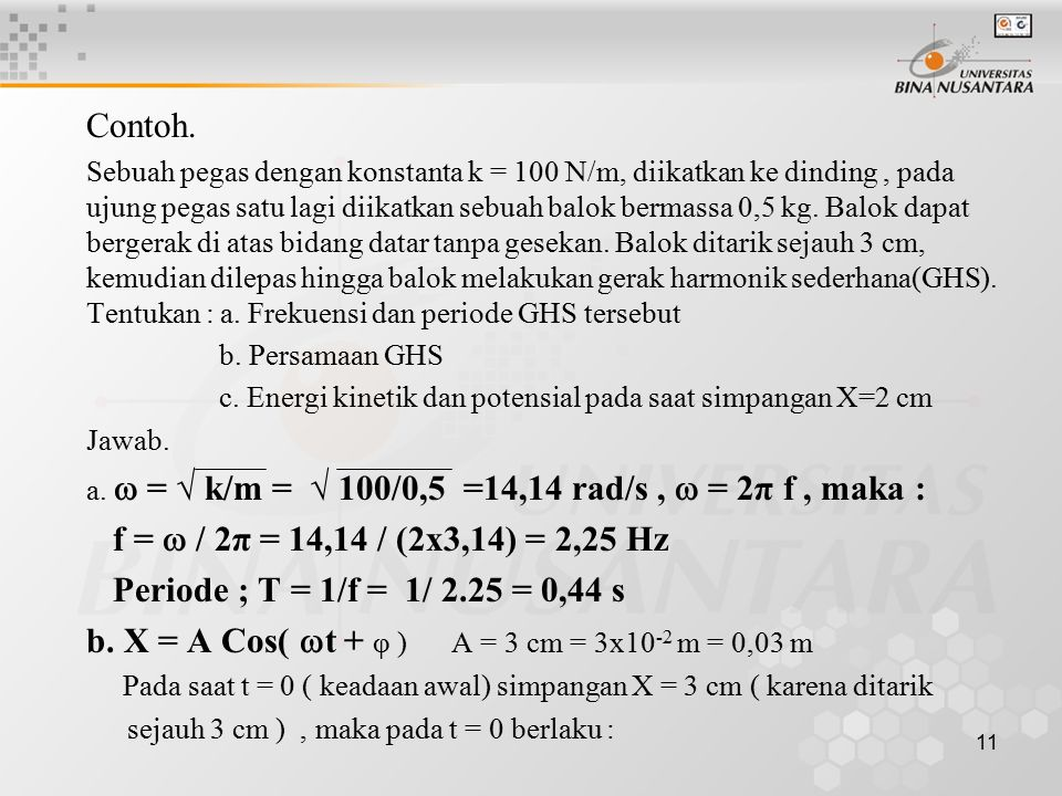 11 Contoh. Sebuah pegas dengan konstanta k = 100 N/m, diikatkan ke dinding, pada ujung pegas satu lagi diikatkan sebuah balok bermassa 0,5 kg. Balok d