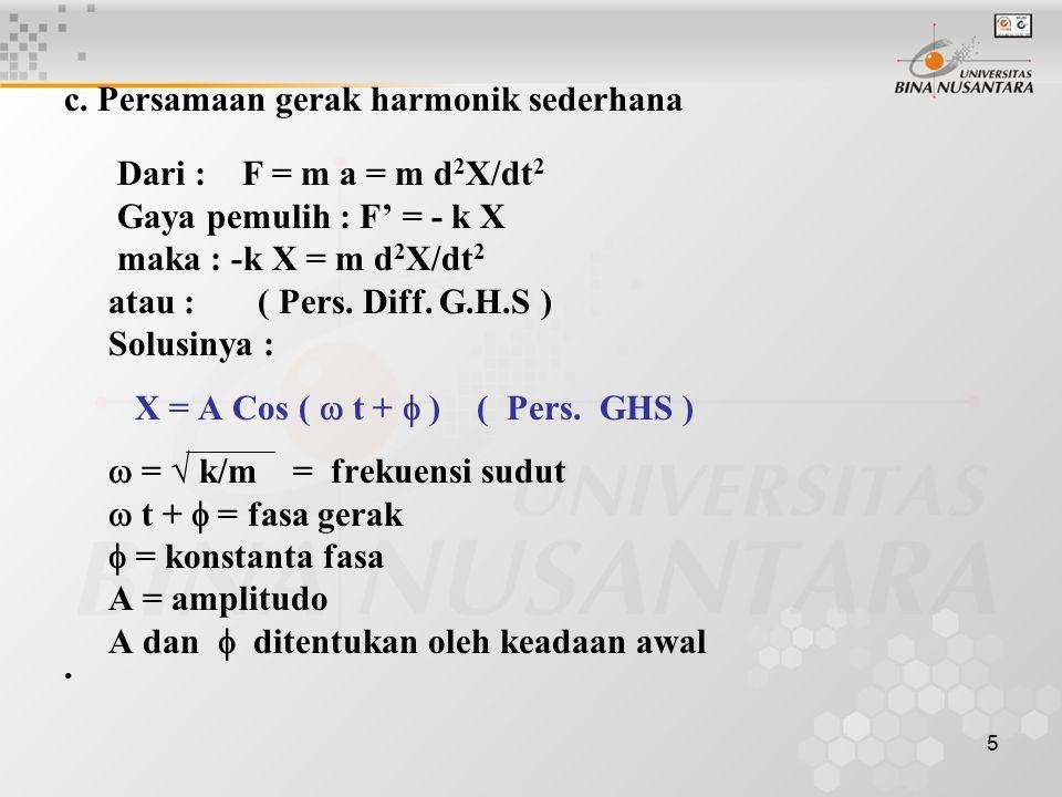 5 c. Persamaan gerak harmonik sederhana Dari : F = m a = m d 2 X/dt 2 Gaya pemulih : F' = - k X maka : -k X = m d 2 X/dt 2 atau : ( Pers. Diff. G.H.S