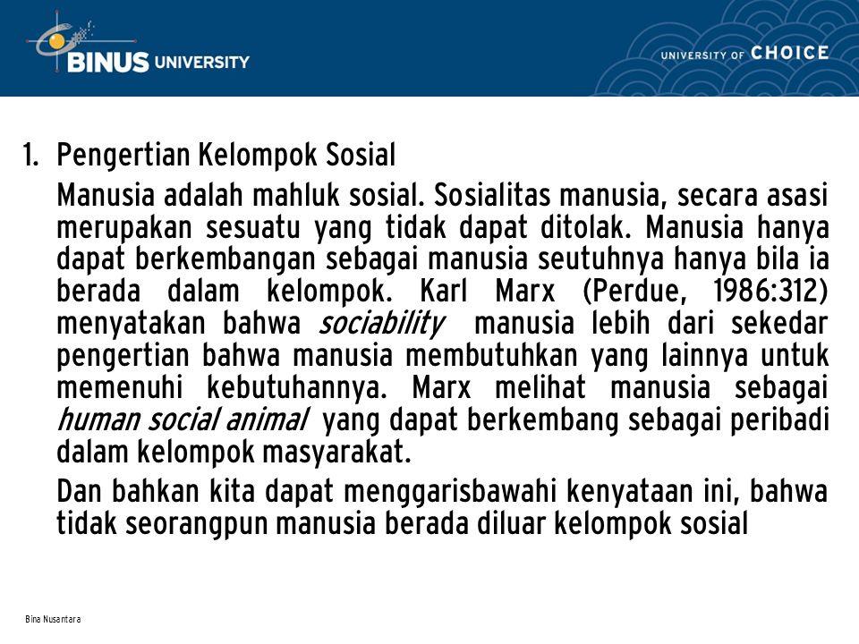Bina Nusantara 1.Pengertian Kelompok Sosial Manusia adalah mahluk sosial.