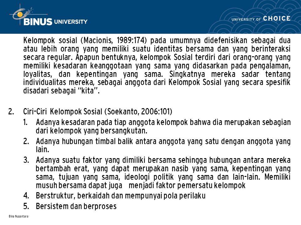 Bina Nusantara Kelompok sosial (Macionis, 1989:174) pada umumnya didefenisikan sebagai dua atau lebih orang yang memiliki suatu identitas bersama dan yang berinteraksi secara regular.