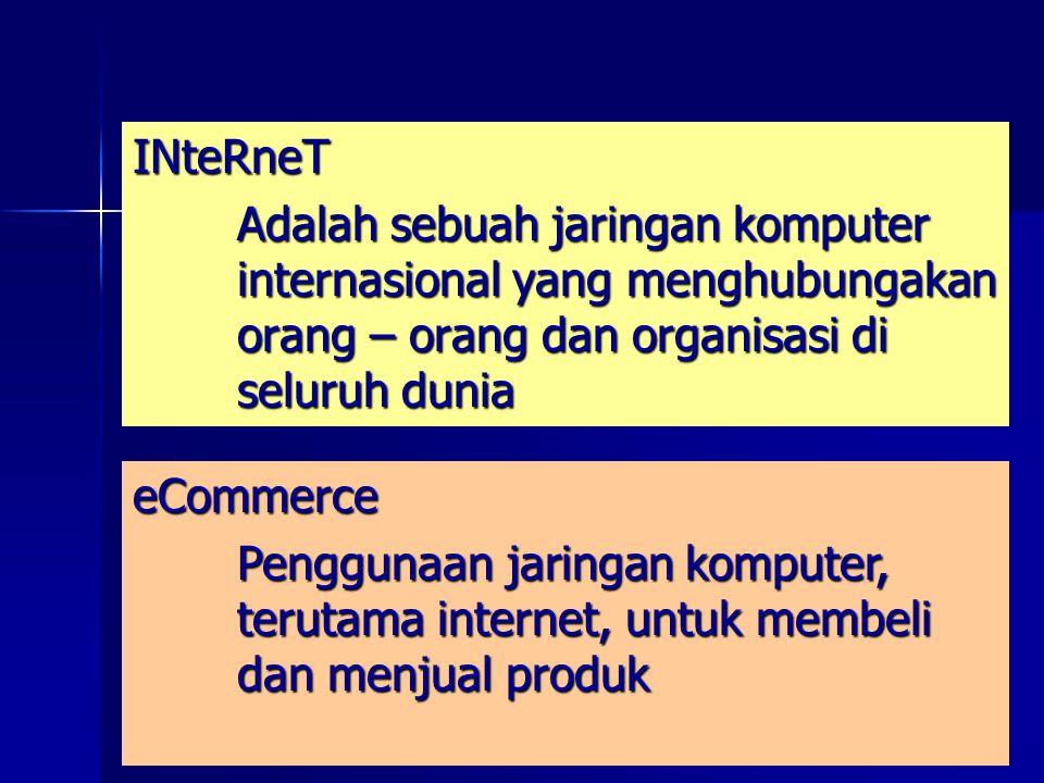 INteRneT Adalah sebuah jaringan komputer internasional yang menghubungakan orang – orang dan organisasi di seluruh dunia eCommerce Penggunaan jaringan