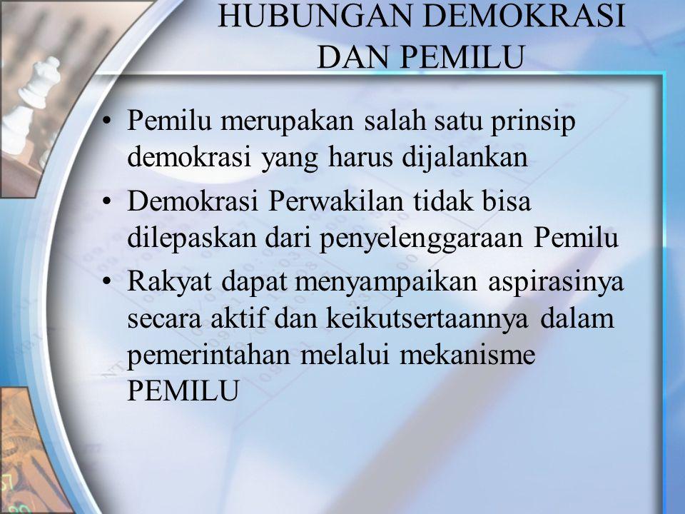 HUBUNGAN DEMOKRASI DAN PEMILU Pemilu merupakan salah satu prinsip demokrasi yang harus dijalankan Demokrasi Perwakilan tidak bisa dilepaskan dari peny