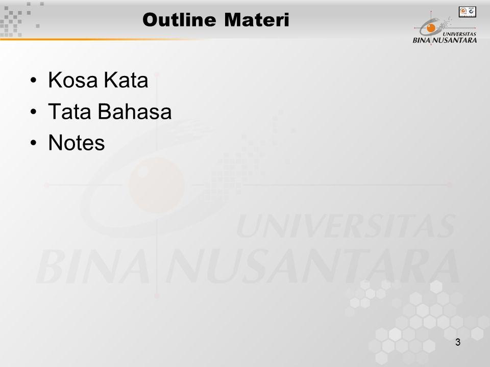 3 Outline Materi Kosa Kata Tata Bahasa Notes