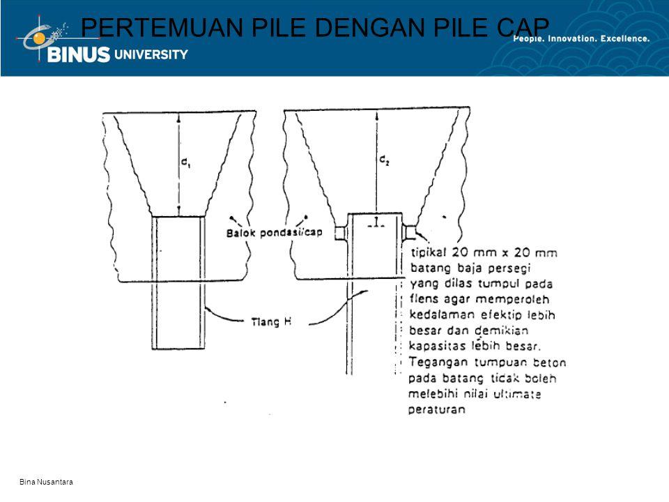 Bina Nusantara PERTEMUAN PILE DENGAN PILE CAP