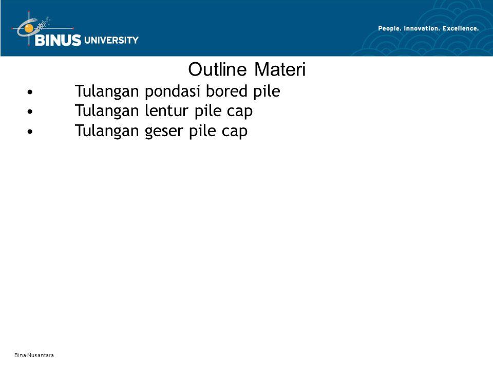 Bina Nusantara Outline Materi Tulangan pondasi bored pile Tulangan lentur pile cap Tulangan geser pile cap