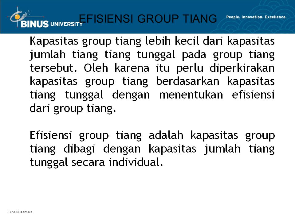 Bina Nusantara EFISIENSI GROUP TIANG