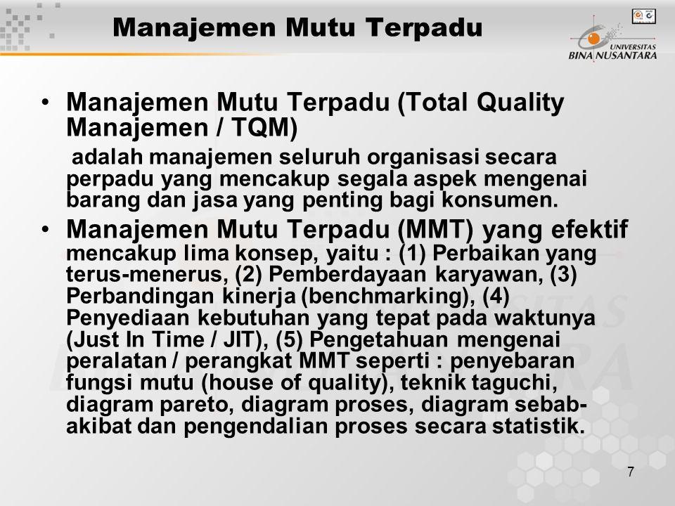 7 Manajemen Mutu Terpadu Manajemen Mutu Terpadu (Total Quality Manajemen / TQM) adalah manajemen seluruh organisasi secara perpadu yang mencakup segala aspek mengenai barang dan jasa yang penting bagi konsumen.