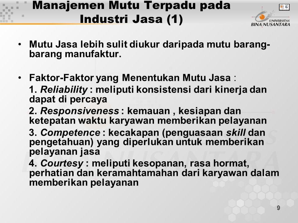 9 Manajemen Mutu Terpadu pada Industri Jasa (1) Mutu Jasa lebih sulit diukur daripada mutu barang- barang manufaktur. Faktor-Faktor yang Menentukan Mu