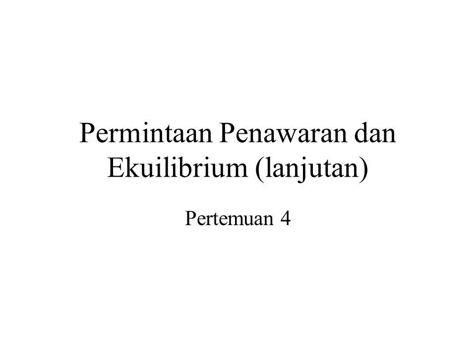 Permintaan Penawaran dan Ekuilibrium (lanjutan) Pertemuan 4