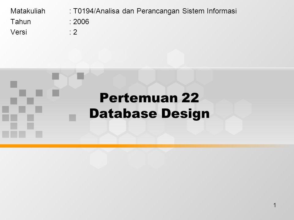 1 Pertemuan 22 Database Design Matakuliah: T0194/Analisa dan Perancangan Sistem Informasi Tahun: 2006 Versi: 2