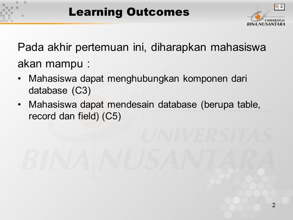 2 Learning Outcomes Pada akhir pertemuan ini, diharapkan mahasiswa akan mampu : Mahasiswa dapat menghubungkan komponen dari database (C3) Mahasiswa da
