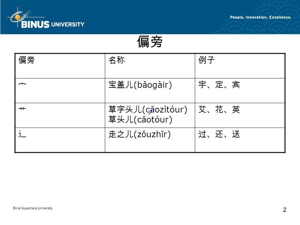 Bina Nusantara University 2 偏旁 名称例子 宀宝盖儿 (b ǎ ogàir) 宇、定、宾 艹草字头儿 (c ǎ ozìtóur) 草头儿 (c ǎ otóur) 艾、花、英 辶走之儿 (z ǒ uzhīr) 过、还、送
