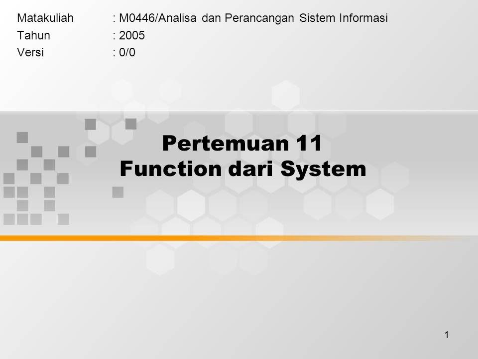 1 Pertemuan 11 Function dari System Matakuliah: M0446/Analisa dan Perancangan Sistem Informasi Tahun: 2005 Versi: 0/0