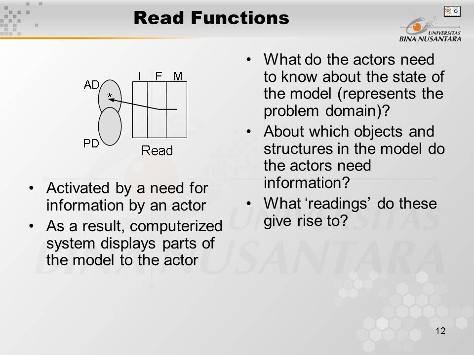 12 Read Functions Activated by a need for information by an actor As a result, computerized system displays parts of the model to the actor What do the actors need to know about the state of the model (represents the problem domain).