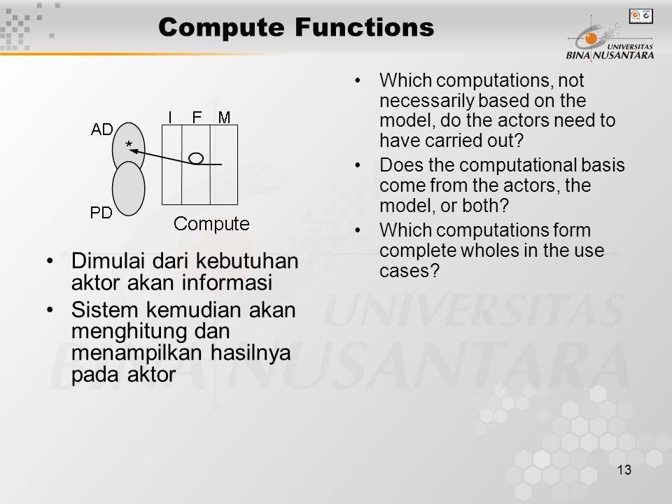 13 Compute Functions Dimulai dari kebutuhan aktor akan informasi Sistem kemudian akan menghitung dan menampilkan hasilnya pada aktor Which computations, not necessarily based on the model, do the actors need to have carried out.