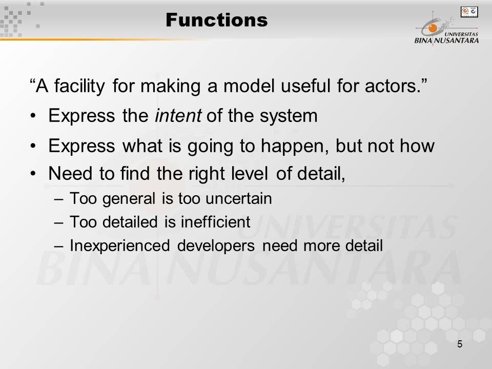 6 Sub-activities didalam analisa Function