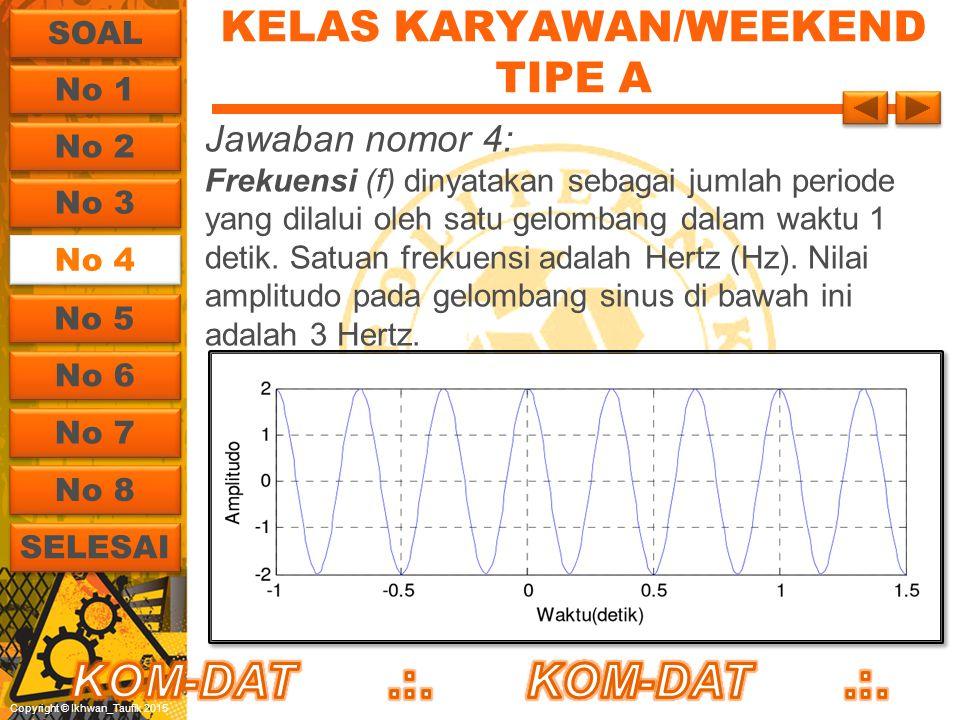 Copyright © Ikhwan_Taufik 2015 KELAS KARYAWAN/WEEKEND TIPE A Jawaban nomor 4: Frekuensi (f) dinyatakan sebagai jumlah periode yang dilalui oleh satu g